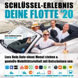 Das offizielle DEINE FLOTTE 2020 Kampagnen Foto. 4 Personen sitzen in einem Sharing-Cabriolet und Logos der Sharing-Anbieter